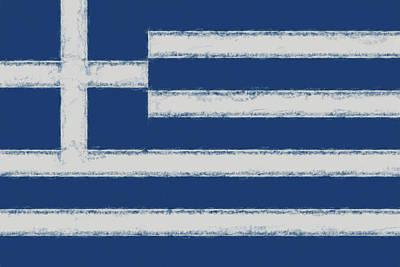 Greek Icon Digital Art - Greek Flag Smudged by Roy Pedersen