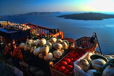 Greek Food At Santorini Art Print