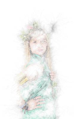 Greek Goddess In Green Art Print by Ilan Rosen