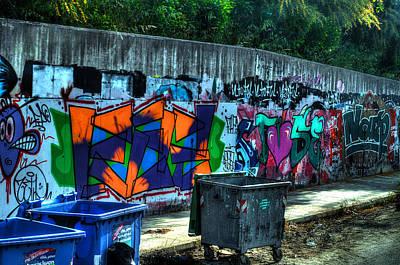Photograph - Greek Graffiti With Garbage Bins by Richard Ortolano