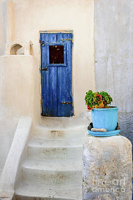 Photograph - Greek Isle Blue Door And White Stairs In Pyrgos Village, Santorini Island, Greece by Global Light Photography - Nicole Leffer