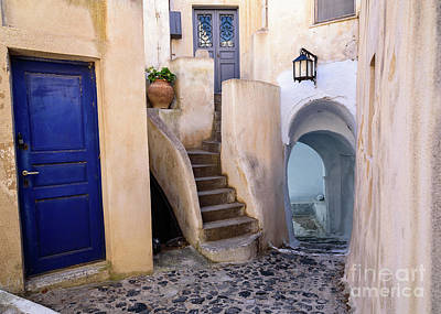 Photograph - Greek Isle Street In Pyrgos Village, Santorini Island, Greece by Global Light Photography - Nicole Leffer
