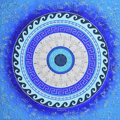 Painting - Greek Mandala Evil Eye Protection  by Olesea Arts