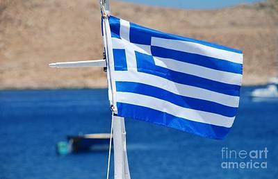 Photograph - Greek National Flag On Halki by David Fowler