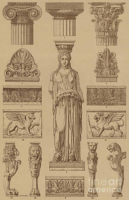 Historic Architecture Drawing - Greek, Ornamental Architecture And Sculpture by German School