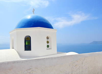 Photograph - Greek Orthodox Church In Santorini Island, Greece by Elenarts - Elena Duvernay photo