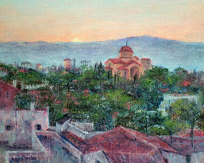 Greek Orthodox Sunset Art Print