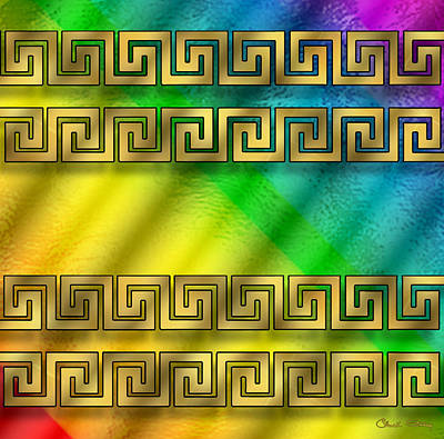 Digital Art - Greek Pattern On Glass - Rainbow by Chuck Staley