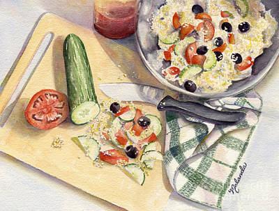 Cutting Board Painting - Greek Salad by Malanda Warner