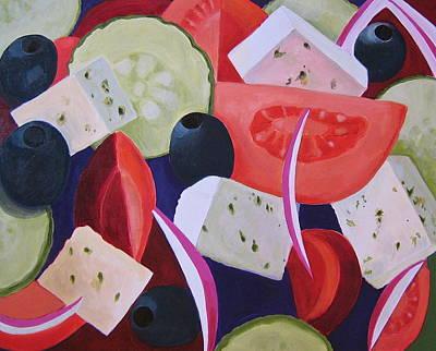 Greek Salad Print by Toni Silber-Delerive