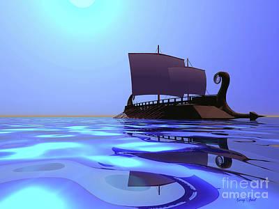 Greek Ship Art Print by Corey Ford