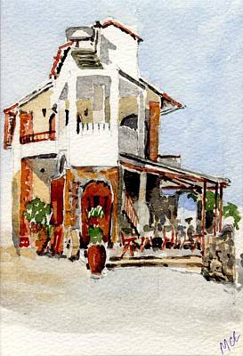 Dinner Painting - Greek Taverna. by Mike Lester