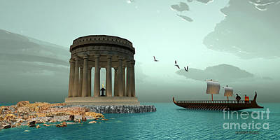 Boating Digital Art - Greek Temple by Corey Ford