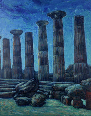 Painting - Greek Temple Of Agrigento At Night by Maria Rizzo