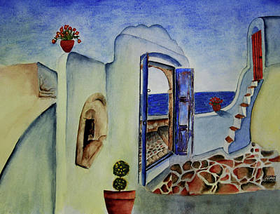 Painting - Greek Villa II by Mary Gaines