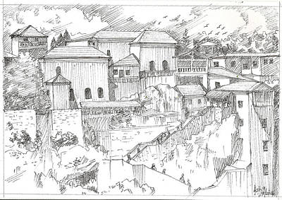 Drawing - Greek Village by Asha Sudhaker Shenoy