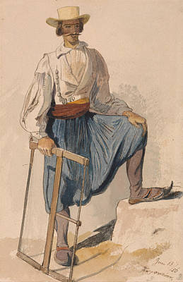 Drawing - Greek Woodcutter, June 13 by Edward Lear