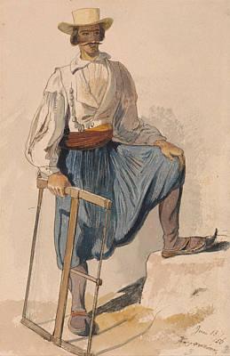 Drawing - Greek Woodcutter, June 13 by Edward Lear