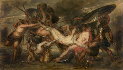 Painting - Greeks And Trojans Fighting Over The Body Of Patroclus by Antoine Wiertz
