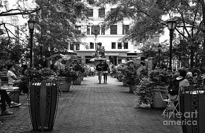 Greeley Square Park Mono Art Print by John Rizzuto