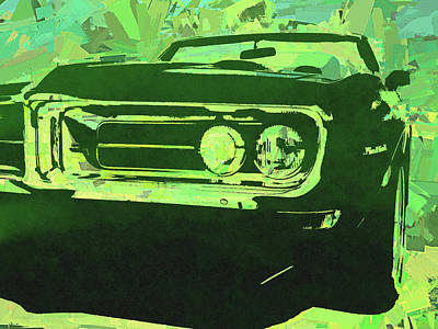 Digital Art - Green 1968 Firebird Pop by David King