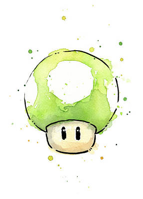 Fan Painting - Green 1up Mushroom by Olga Shvartsur