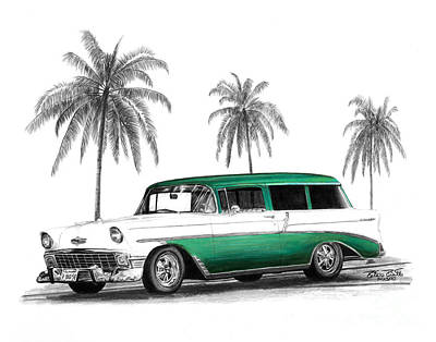 Automotive Drawing - Green 56 Chevy Wagon by Peter Piatt