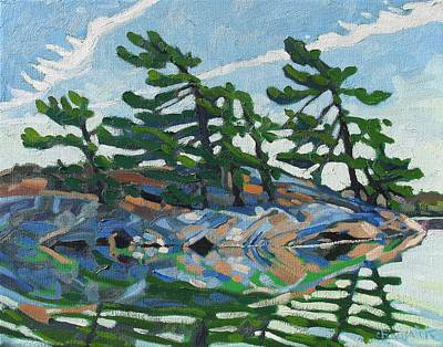 St. Lawrence River Painting - Green A Island by Phil Chadwick