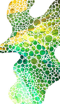Green Abstract Art - Colorforms 4 - Sharon Cummings Print by Sharon Cummings