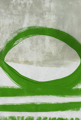 Painting - Green Abstract Circle Vertical- Art By Linda Woods by Linda Woods