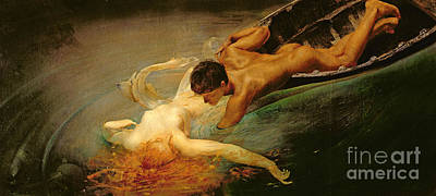 Erotic Wall Art - Painting - Green Abyss by Giulio Aristide Sartorio