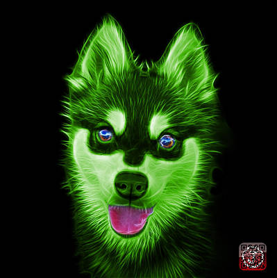 Painting - Green Alaskan Klee Kai - 6029 -bb by James Ahn