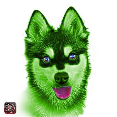 Painting - Green Alaskan Klee Kai - 6029 -wb by James Ahn