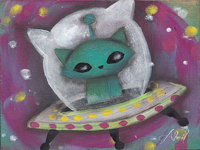 Pop Surrealism Painting - Green Alien Cat by Abril Andrade Griffith