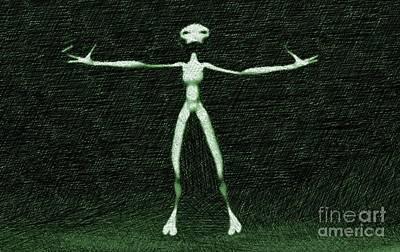 Green Alien Art Print