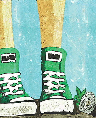 Green Allstars And White Rose Art Print by Jerry Watkins