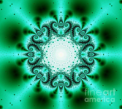 Digital Art - Green And Black Fractal Kaleidoscope by Tracey Everington