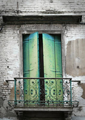 Photograph - Green And Blue Balcony Door by Brooke T Ryan