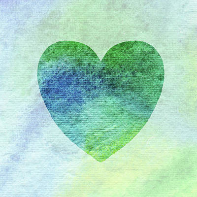 Painting - Green And Blue Heart Watercolor Silhouette  by Irina Sztukowski