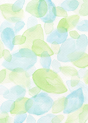 Four Seasons Tree Nature Summer Painting - Green And Blue Leaves by Kathleen Wong