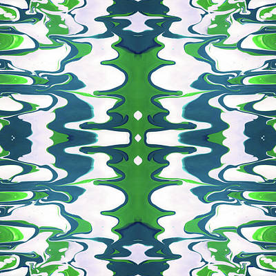 Mixed Media - Green And Blue Swirl- Art By Linda Woods by Linda Woods