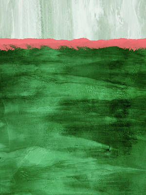 Green And Coral Landscape- Abstract Art By Linda Woods Art Print