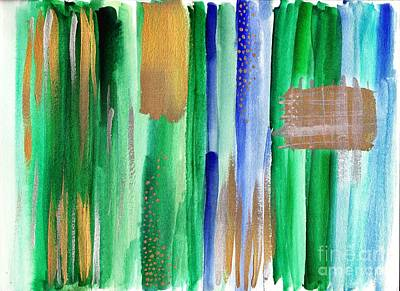Green And Gold Abstract Painting Art Print by My Art