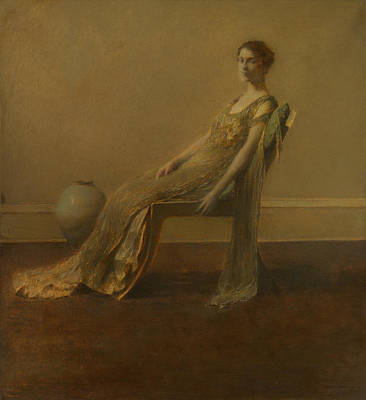 Dew Painting - Green And Gold by Thomas Wilmer Dewing