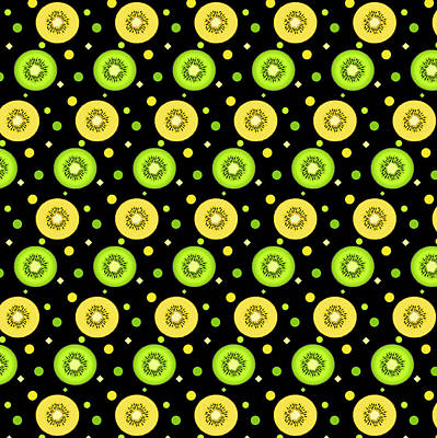 Kiwi Digital Art - Green And Golden Kiwi Pattern On Black by SharaLee Art