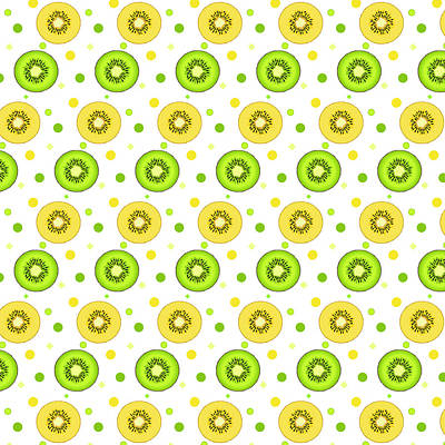 Kiwi Digital Art - Green And Golden Kiwi Pattern  by SharaLee Art