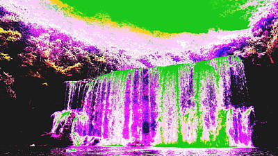 Digital Art - Green And Purple Waterfall by Erika Swartzkopf