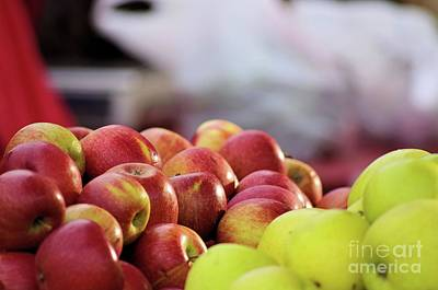 Photograph - Green And Red Apples by John S