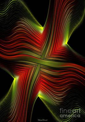 Generative Digital Art - Green And Red Lines by Deborah Benoit