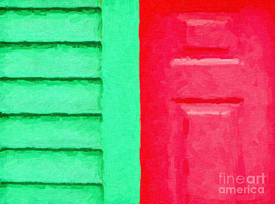 Abstract Digital Art - Green And Red by Liz Leyden